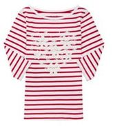 F&F Embroidered Striped 3/4 Length Sleeve T-Shirt, Girl's