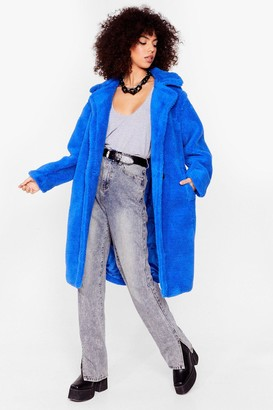 Nasty Gal Womens Go Long Faux Fur Coat - Blue - S/M