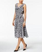 MSK Cowl-Neck Floral-Print Midi Dress