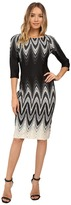 Christin Michaels Elodey Chevron Border Bodycon Midi Dress