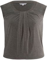 House of Fraser Chesca Plus Size Stud trimmed melange jersey top