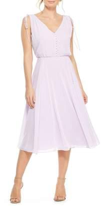 Gal Meets Glam Hilary Clip Dot Chiffon Midi Dress
