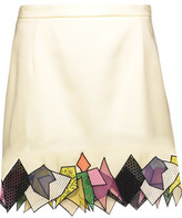 Christopher Kane Asymmetric Guipure Lace-Trimmed Crepe Mini Skirt