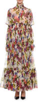 Dolce & Gabbana Mock-Neck Long-Sleeve Ruched-Waist Floral-Print Chiffon Long Gown