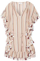 Zimmermann Jasper Tasseled Striped Cotton-voile Mini Dress - Pastel pink