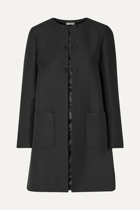 Miu Miu Bow-embellished Wool And Silk-blend Coat - Black