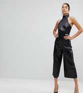 Asos TALL Jumpsuit in Jacquard with Buckle Detail