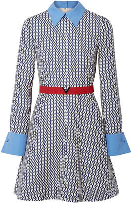 Valentino Belted Poplin-trimmed Printed Wool And Silk-blend Mini Dress