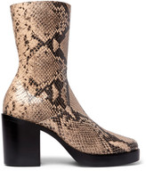 Balenciaga Snake-Effect Leather Boots