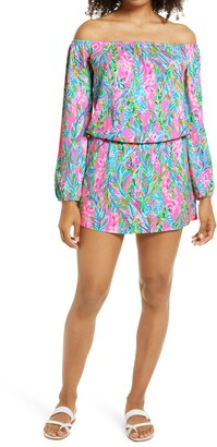 Lilly Pulitzer Lana Off the Shoulder Long Sleeve Skort Romper