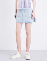 Maison Margiela Contrast stitch mid-rise denim skirt
