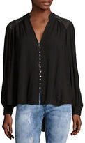 Free People Canyon Rose Embroidered Button-Front Blouse