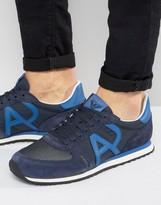Armani Jeans Logo Runner Sneakers in Navy