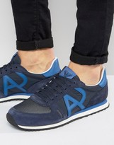 Armani Jeans Logo Runner Trainers In Navy