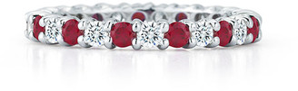 Nm Diamond Collection Ruby & Diamond Eternity Band in Platinum, Size 6.5