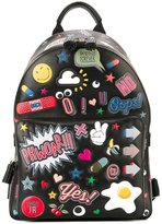 Anya Hindmarch 'All Over Stickers' backpack - women - Cotton/Calf Leather/Leather - One Size