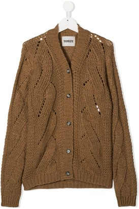Touriste TEEN v-neck cable knit cardigan