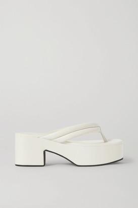 Dries Van Noten Leather Platform Flip Flops - White