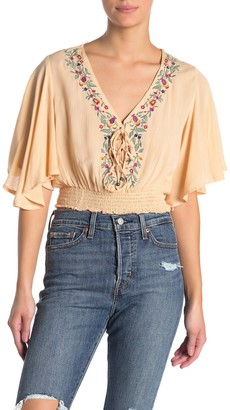 Angie Meet & Greet Embroidered Lace Up Kimono Blouse