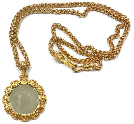 Chanel CC Gold Plated Round Mirror Large Pendant Necklace
