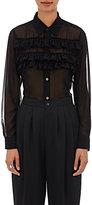 Comme des Garcons Women's Georgette Ruffled Blouse-BLACK