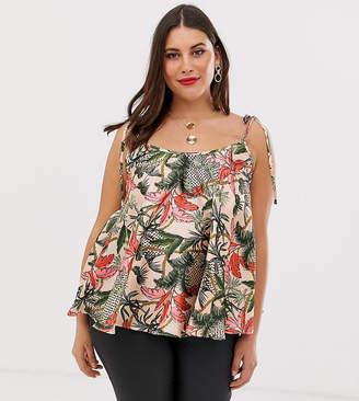 Asos DESIGN Curve tie shoulder satin swing cami in tropical leaf print-Multi