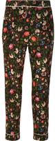 Erdem Giulia Floral-print Silk Crepe De Chine Slim-leg Pants - Black