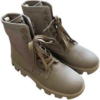 Prada Block Combat Beige Cloth Ankle boots