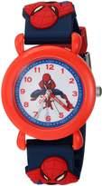 Marvel Boy's 'Spider-Man' Quartz Plastic Casual Watch, Color:Blue (Model: WMA000165)