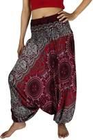 NaLuck Women's Boho Hippie Floral Paisley Print Jumpsuit Unisex Yoga Harem Pants PH19