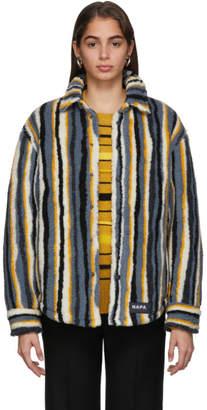 Martine Rose NAPA by Blue Striped Fleece Button-Up Jacket