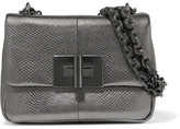 Tom Ford Natalia Metallic Watersnake Shoulder Bag - Dark gray