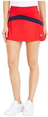 Fila Heritage Tennis Color-Blocked Skort (Chinese Red/Navy/Chinese Red) Women's Clothing