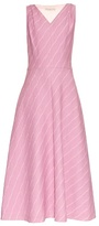 Emilia Wickstead Liv striped pleat-back dress