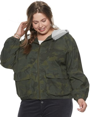 UNIONBAY Juniors' Plus Size Hooded Camo Jacket