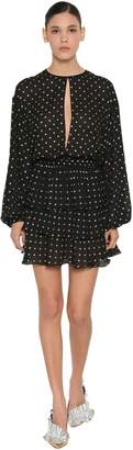 MSGM PM DOT PRINT LUREX CHIFFON MINI DRESS
