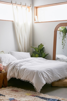 Urban Outfitters Washed Cotton Tassel Duvet Cover