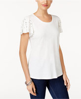 Style&Co. Style & Co Studded Flutter-Sleeve T-Shirt, Only at Macy's
