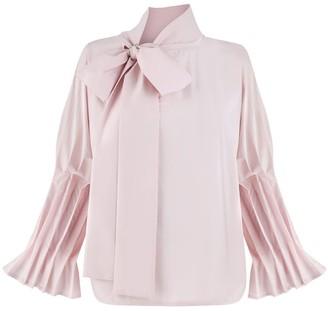 Monica Nera Margaret Pink Ruffle Bow Tie Shirt