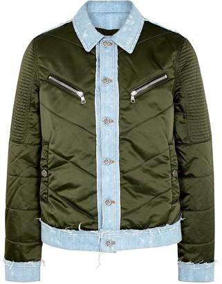 Balmain Dark Green Shell And Denim Jacket