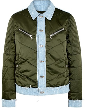 Balmain Dark green shell and denim jacket
