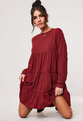 Missguided Burgundy Jersey Tiered Long Sleeve Smock Dress