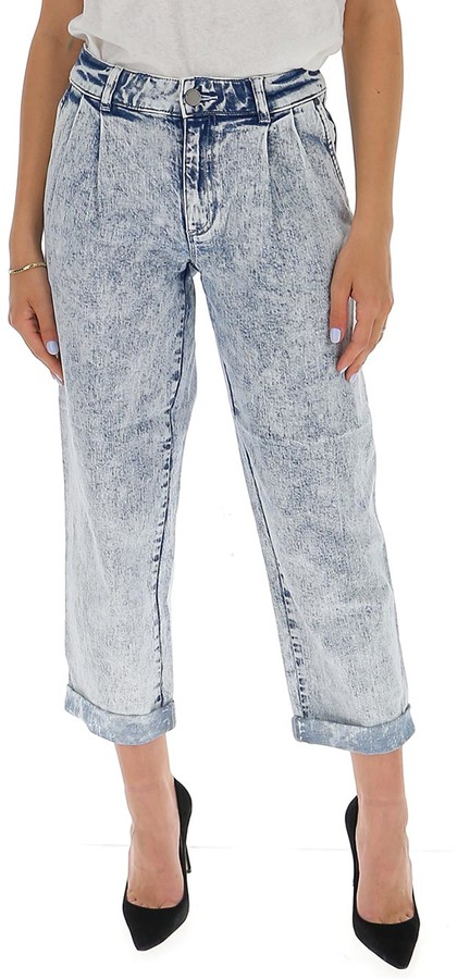 MICHAEL Michael Kors Acid Washed Cropped Jeans
