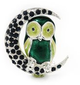 Avalaya Green Enamel Crystal 'Owl On The Moon' Brooch In Silver Plated Metal