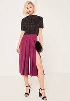 Missguided Purple Split Front Hammered Satin Culottes