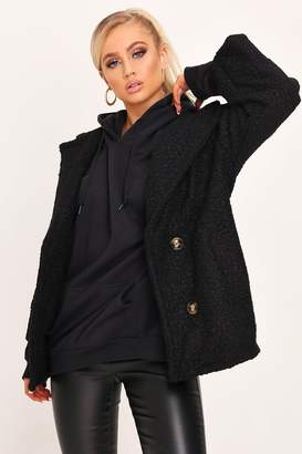 I SAW IT FIRST Black Boucle Double Button Coat