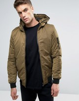 Pull&Bear MA1 Bomber Jacket With Hood In Khaki