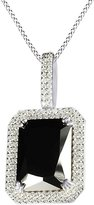 Jewel Zone US Amulet Black Emerald Onyx With Cubic Zirconia Rick Ross Pendant In 14K Gold Over Sterling Silver