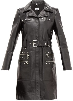 Burberry Harewood Leather Trench Coat - Womens - Black