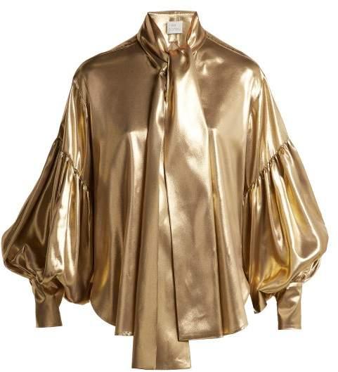 Hillier Bartley Balloon Sleeve Silk Blouse - Womens - Gold